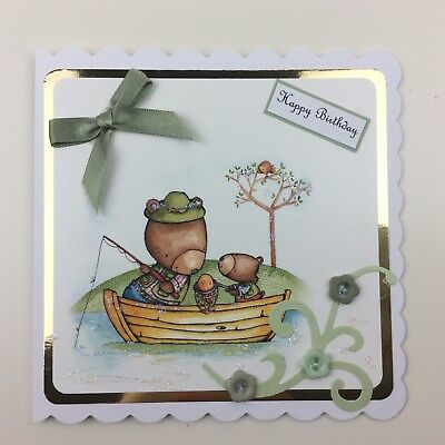 Personalised Handmade Fishing Birthday Card Uncle Friend Brother