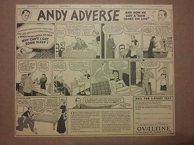1936 Ovaltine Swiss Food Drink Comic Ad Andy Adverse