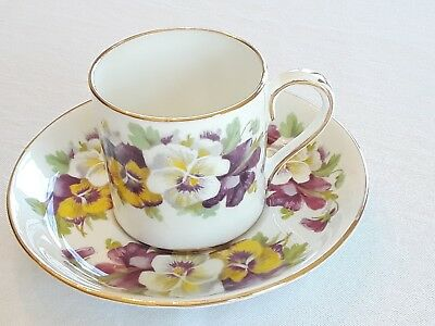 Crown Staffordshire England Fine Bone China Pansy Demitasse Cup and Saucer