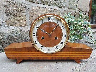 A very stylish 1940s walnut mantle clock by Smiths - 'The Stanton' 8 day