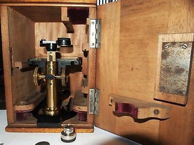 Circa-1920s Antique Leitz Model-W Basic Dissecting Microscope in Wood Case