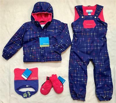 New COLUMBIA Toddler Girls SnowSuit Jacket, Overall Bib Pants, Hat, Mittens 4T