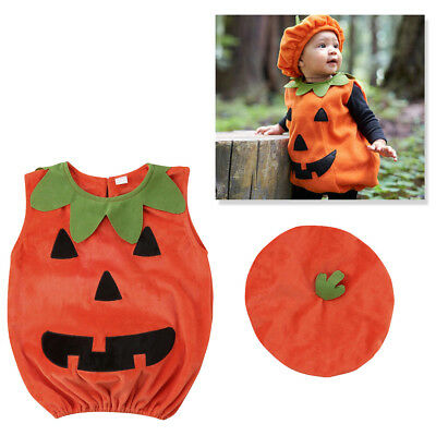 Baby Toddler Boy Girl Pumpkin Costume Halloween Fancy Dress Party Outfit 0-24M