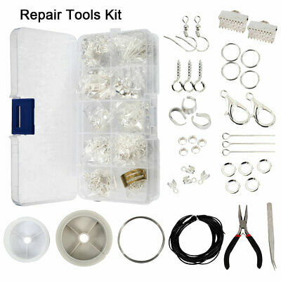 Findings Large Jewellery Making Kit Pliers Silver Beads Wire Starter Tool .