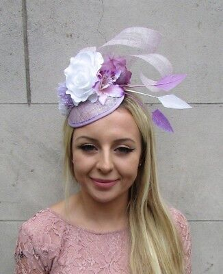Lilac Light Purple White Flower Feather Pillbox Hat Fascinator Races Hair 6280