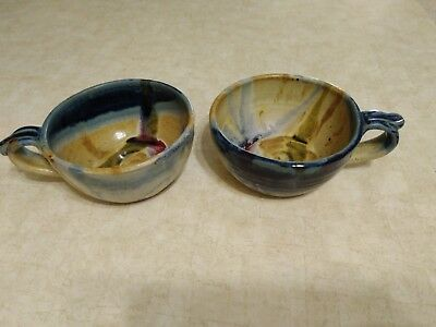 Lot Of Two Ayers 2001 Stoneware Art Pottery Multi Color Glaze Studio Cups Bowls