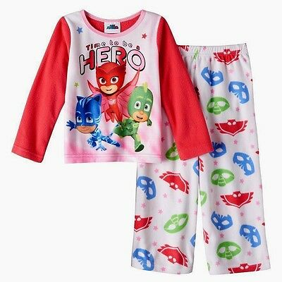 Girls 3T Fleece Pajamas PJ MASKS $30 Winter Pink Owlette DISNEY JR Toddler NEW