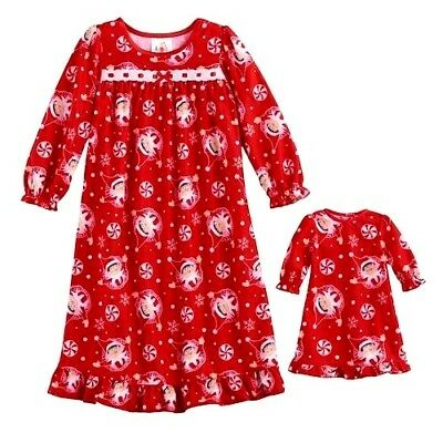 "NWT Girls 3T Elf on the Shelf Xmas Nightgown & Matching 18"" Doll Gown Pajamas"