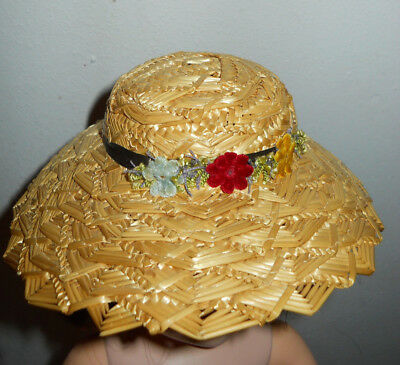 """Vintage Straw Hat with flowers for 21"""" Madame Alexander Cissy or Jacqueline Doll"""