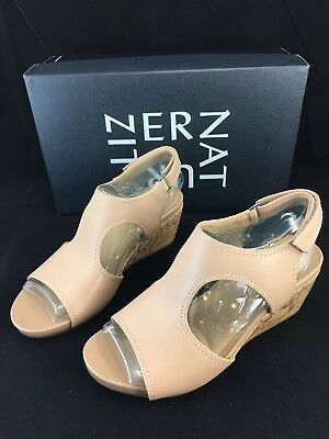 2790a820f536 Naturalizer Cinda Wedge Sandals Womens 5 M Ginger Leather Slingback Cork  Heel