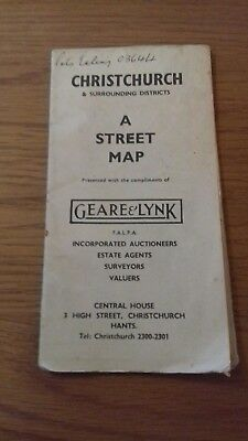 Old Vintage Christchurch Hampshire street map 1950's Geare and Lynk