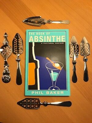 Set of 6 ABSINTHE SPOONS with Book of Absinthe, A Cultural History by Phil Baker