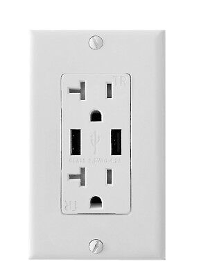 BYBON 15/20 AMP High Speed, TR, USB Charger outlet with Screws Wallplate, UL