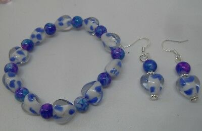 Beautiful Blue Murano Glass Bracelet with Matching Sterling Silver Earrings