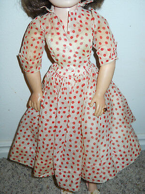"""Vintage Tagged Red and White Dotted Dress for 21"""" Madame Alexander Cissy TLC"""
