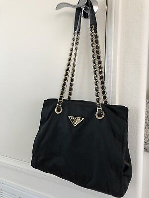 8ac3ff7b5f08 AUTHENTIC VINTAGE PRADA Nylon Gold Plated Chain Shoulder Bag - Black ...