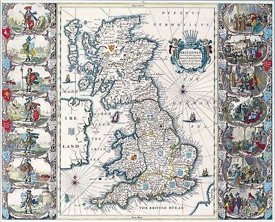 A4 Reprint of Old Maps Old European Great Britain Map 102 7