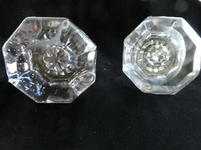 2 Vintage / Antique Clear Glass with Purple Hue Tint Door Knobs