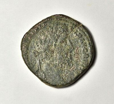 Sestertius Commodus, Commodus Seated on Curule Chair, F/F Rare Type