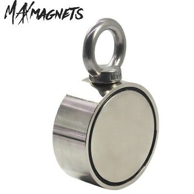 "Double Sided Fishing Magnet 800 LB Pull Force 2.95"" Super Strong Neodymium"