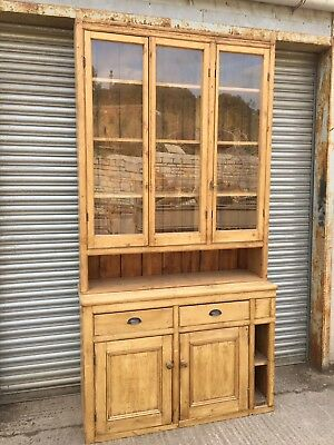 Antique Victorian Pine Glazed Dresser / Housekeepers Cupboard Large