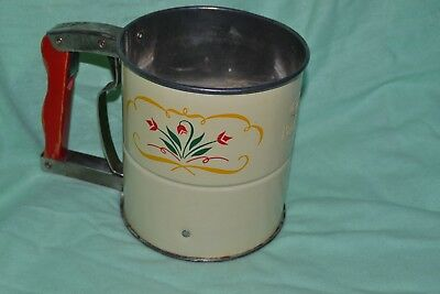 Vintage Androck Metal Flour Sifter Hand-i-Sift Red tulips Yellow Kitchen Decor