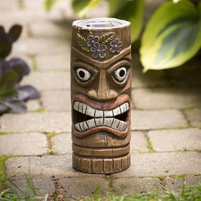 Bits and Pieces - 12 Inch Tall Solar Tiki Statue - Whimsical Light-Up Lawn and