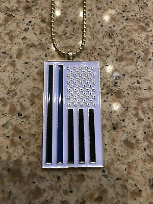 Thin Blue Line Flag Pendant Necklace Police Tribute US SELLER!