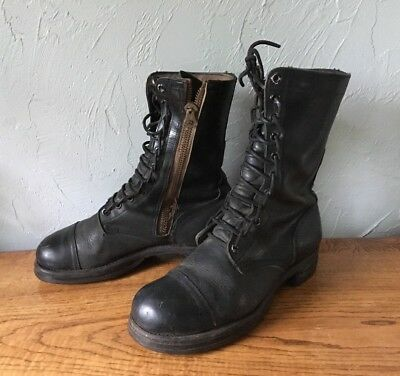 b84ae62268123 VINTAGE US MILITARY Boots Combat Jump Zippers BF Goodrich 8 1/2 Black 7-62