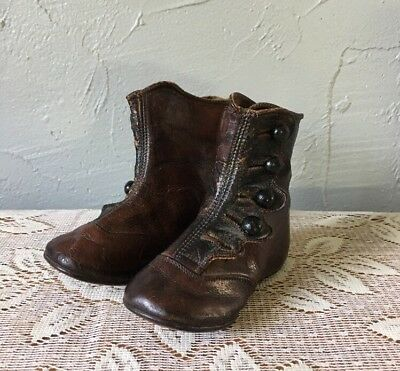 Antique HAMILTON BROWN Baby Shoes / Boots Leather Size 0 Victorian Doll