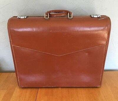 "Vintage WHEARY Suitcase ""Colonel"" Brown Leather Luggage 23"" with Key & Hanger"