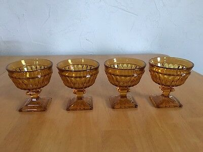Set of 4 Indiana Glass Amber Mt. Vernon Footed Sherbet / Dessert Goblets