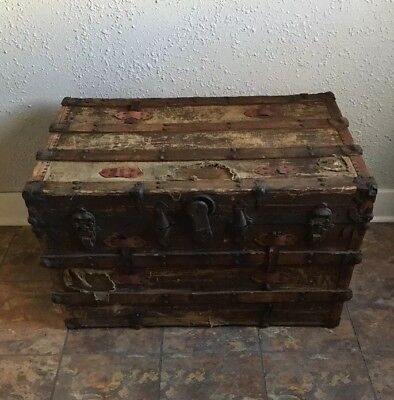 "Antique Steamer Trunk Immigrant Chest Large 35"" Flat Top Vintage Coffee Table"