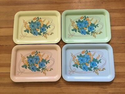 Vintage Metal Serving Trays (4) Floral Pastels TV Lap Bed Picnic Retro