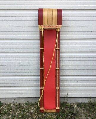 """Flexible Flyer Wood Toboggan 58"""" Sled Made in Canada w/Pad Child Youth Size"""