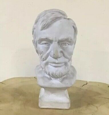 Vintage Chalkware President Abraham Lincoln Bust Statue Signed Peace 1971