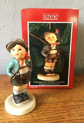 "Vintage Schmid ""Alpine Boy"" Christmas Ornament 1985 Hummel Repro W/Box"
