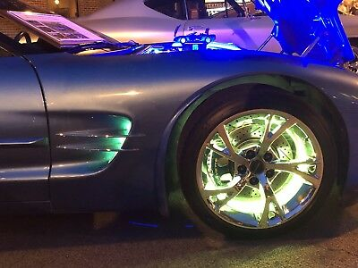 """All-Color LED ILLUMINATED Wheel Rings Lights  15"""" Bluetooth iPhone Android"""