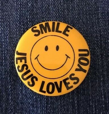 Vintage Pinback SMILE JESUS LOVES YOU Button Religious Pin MADE IN USA!