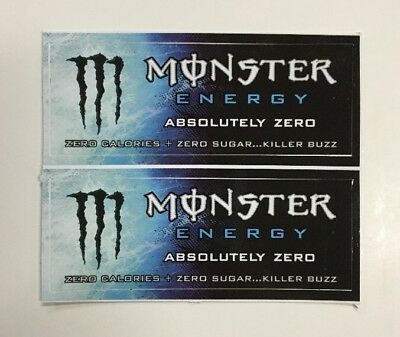 Monster Energy Drink ABSOLUTELY ZERO Stickers (2) Unused NOS