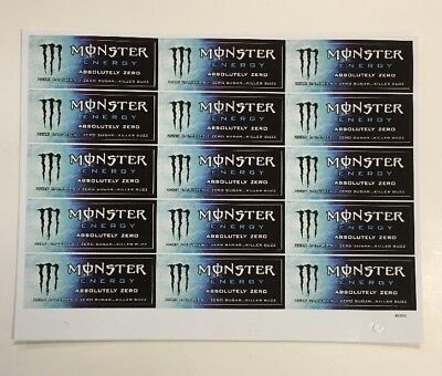 Monster Energy Drink ABSOLUTELY ZERO Sticker Sheet 15 Unused Stickers Lot NOS