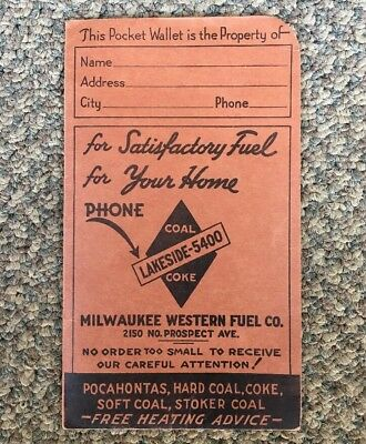 Vintage 1940 Baseball Schedule Brewers Cubs White Sox Advertising Coal MLB Rare