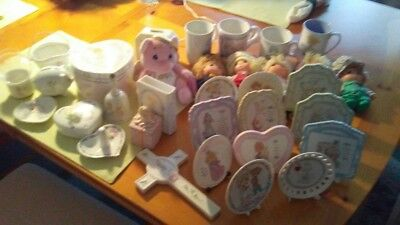 precious moments mis. plaque, mini dolls ,ring holder, music jewelry box lot