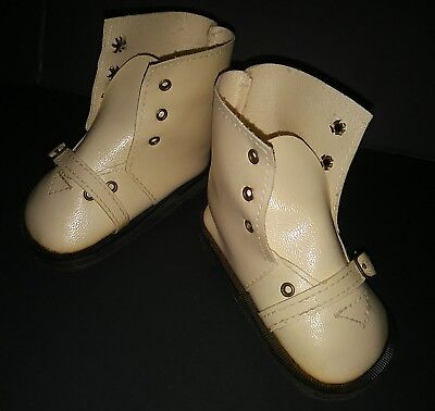 """Vintage Lace Up Buckle Playpal French German Bisque Large Doll White Shoes 4.5"""""""