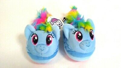 My Little Pony Toddler Girls Rainbow Plush Slippers House Shoes NWT Blue  5/6