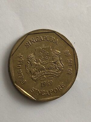 SINGAPORE 1989 one Dollar Coin Singapura