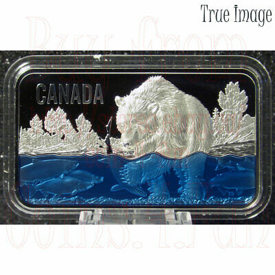 2018 Salmon Run $25 Pure Silver Rectangular UHF Coin with Blue Enamel Canada