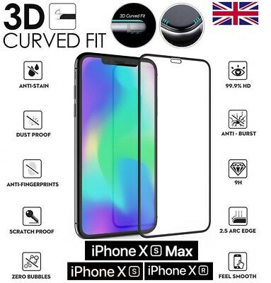 For iPhone Xs Max XR Black 3D Curved Full Cover Screen Protector Tempered Glass