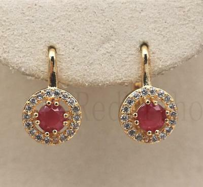 18K Gold Filled - Round Hollow Ruby Topaz Gemstone Wedding Women Hoop Earrings