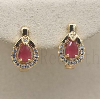18K Gold Filled - Waterdrop Hollow Ruby Zircon Gemstone Wedding Hoop Earrings